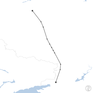 Map of flight plan from URRP to UUWW