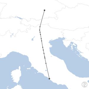 Map of flight plan from LIRF to EDDM