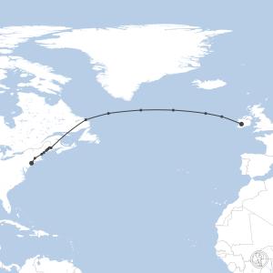 Map of flight plan from EINN to KJFK