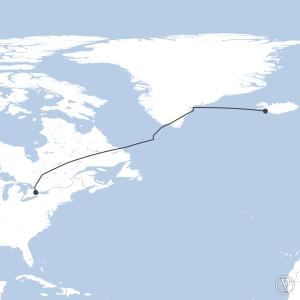 Map of flight plan from BIRK to CYZD