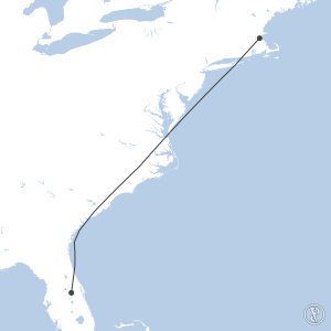 Map of flight plan from KMCO to KBOS