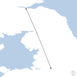 Map of flight plan from EGPH to EGCC