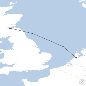 Map of flight plan from EGPH to EHAM