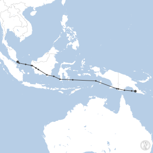 Map of flight plan from AYPY to WSSS