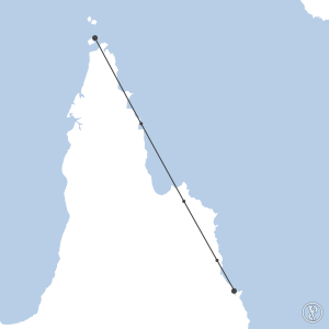 Map of flight plan from YHID to YBCS