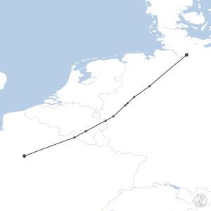 Map of flight plan from LFPG to EDDH