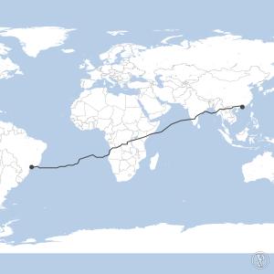 Map of flight plan from VHHH to SBGR