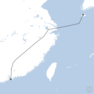 Map of flight plan from VHHH to RKPC
