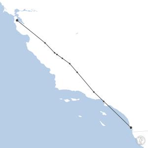 Map of flight plan from KSFO to KSAN