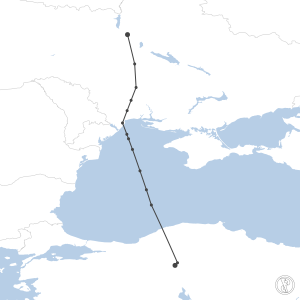 Map of flight plan from LTAC to UKBB