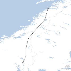 Map of flight plan from ENGM to ENBO