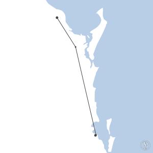 Map of flight plan from YBBN to YBUD