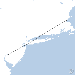 Map of flight plan from KBOS to KPHL
