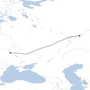 Map of flight plan from UWKE to UKBB
