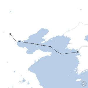 Map of flight plan from RKSI to ZBAA