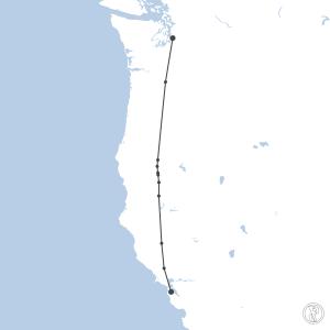 Map of flight plan from KSEA to KSFO