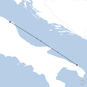 Map of flight plan from LIBR to LIPY