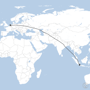Map of flight plan from WIII to EHAM